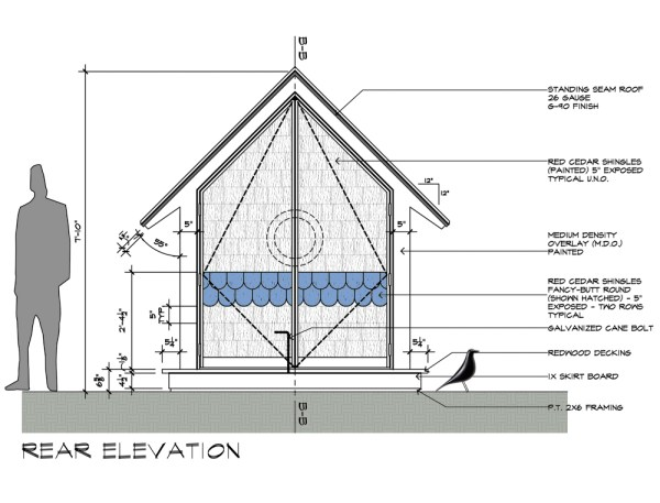 Birdhouse drawings Rear Elevation colored