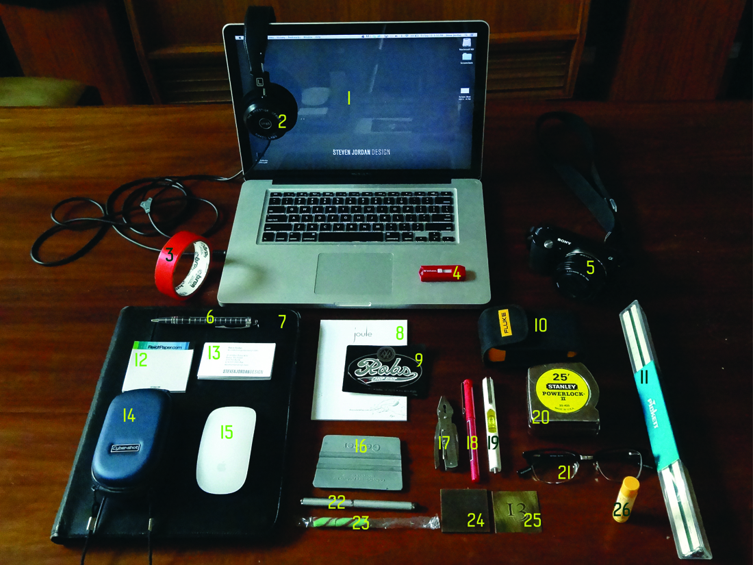 the contents of Graphic Designer Steve Jordan's Bag