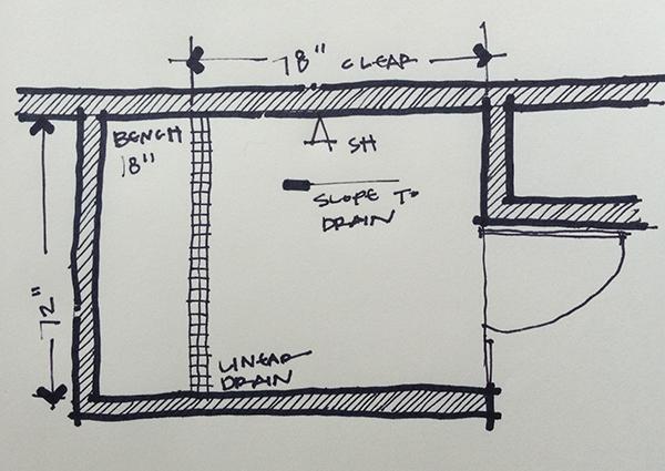 "Shower layout ""After"" sketch"