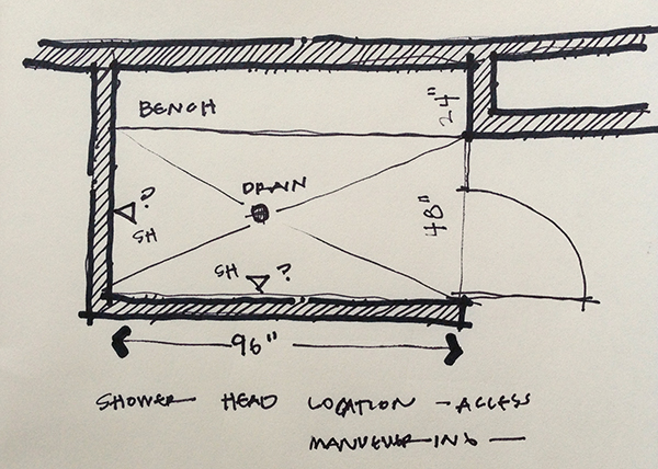 """Shower layout """"Before"""" sketch"""
