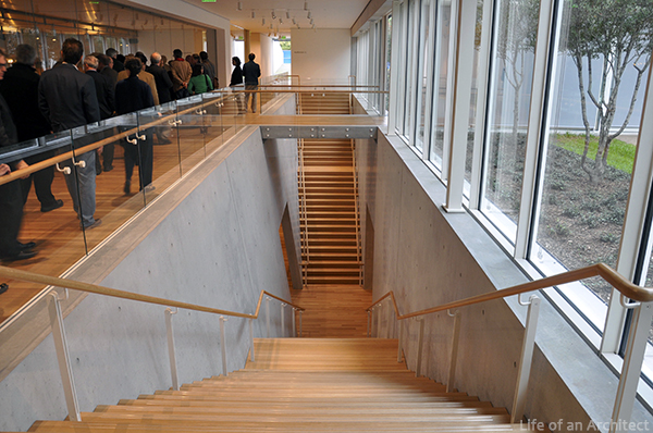 Renzo Piano Kimbell Museum stairs to lower level