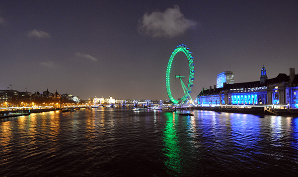 London Eye viewed from Westminster Bridge