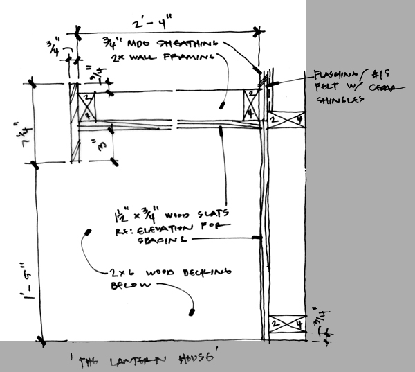 Lantern Playhouse plan sketch at entry