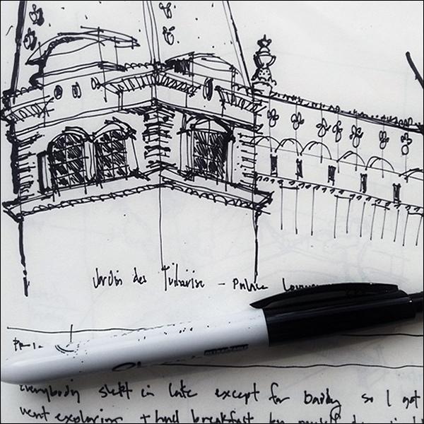 ArchiSketch Bob Borson Jardin de Tuilleries