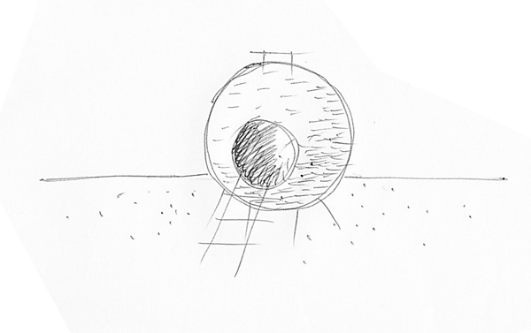 Red Ball Playhouse concept sketch by Levente Skulteti