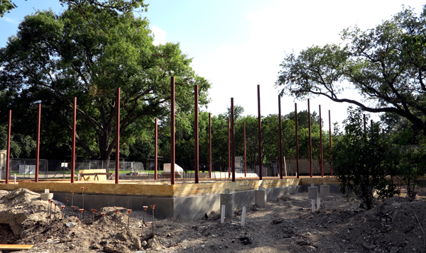 steel posts are in place