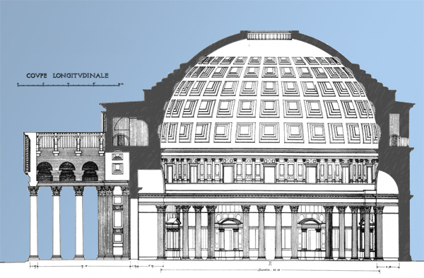 The Pantheon Cross Section colored