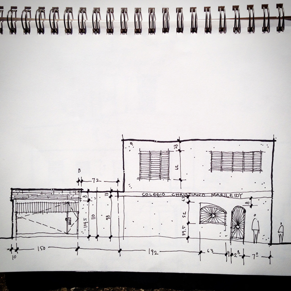 elevation sketch from Colegio Cristiano Marileidy in Santo Domingo