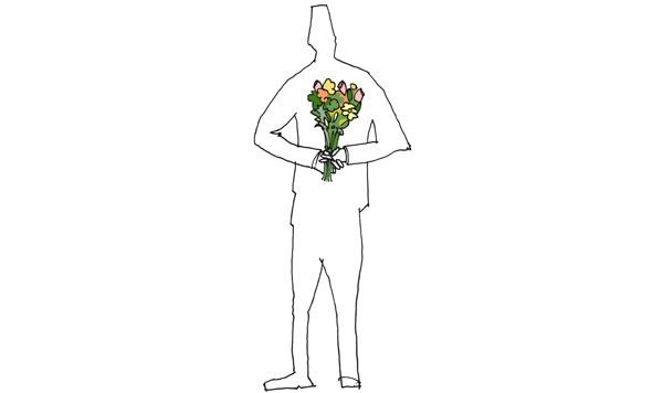 guy holding flowers