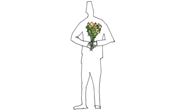 guy holding flowers