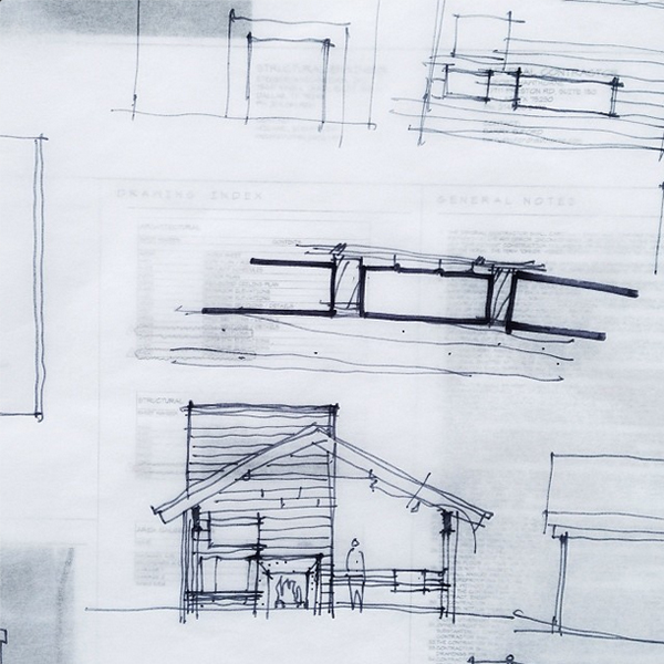 Bob Borson schematic design sketch - elevation study