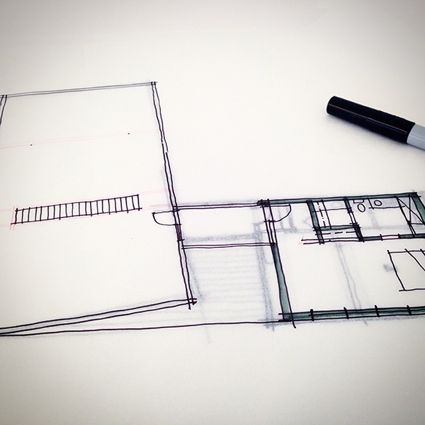 Dallas Architect Bob Borson - Schematic Design Cabin Sketch