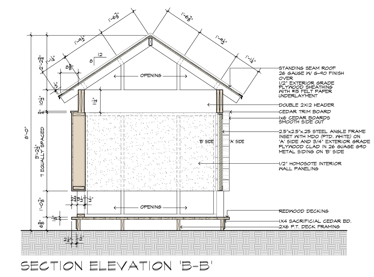 Movie Theater Playhouse CD's B-B Section Elevation