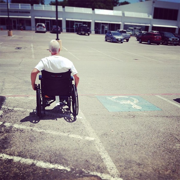 Bob Borson in a wheelchair