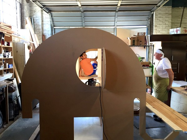construction of Ellie the Elephant by Andres Moreno - built by Perk Homes