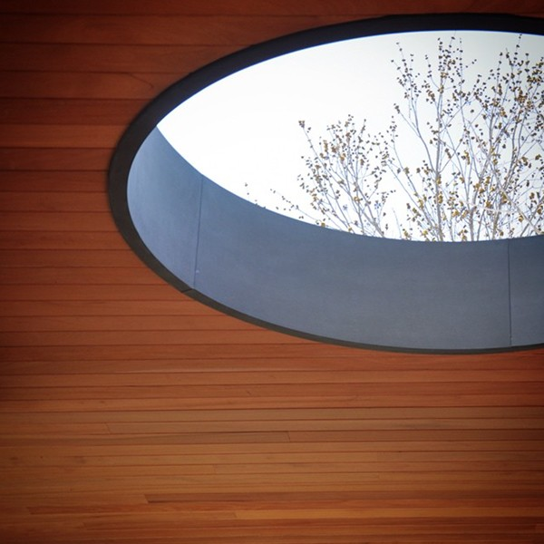 Oculus - mahogany tongue and groove soffit
