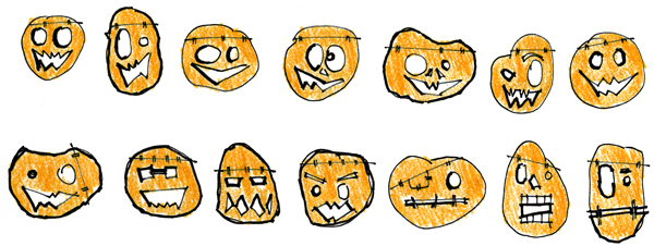 pumpkin sketches - adding some color