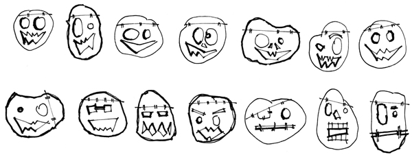 pumpkin sketches - adding the face