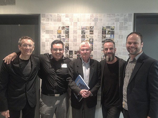 Juror John Maruszczak, Committee Chair Eduardo Castaneda, Juror Steve Oles, Juror Michel Rojkind and Moderator Joshua Nason for the 2015 Ken Roberts Memorial