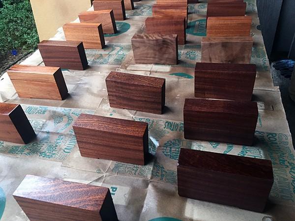 Polyurethane on wood block for LoaA Playhouse Trophies