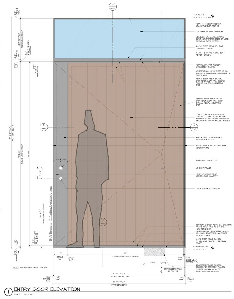 Construction Drawings for an Architectural Front Door