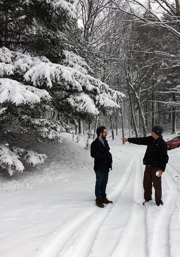 Dallas Architect Bob Borson and Ryan Thomason in the snow
