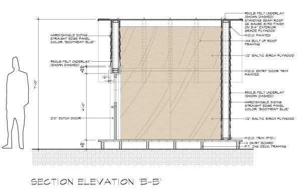 Cottage Playhouse Section BB by Dallas Architect Bob Borson
