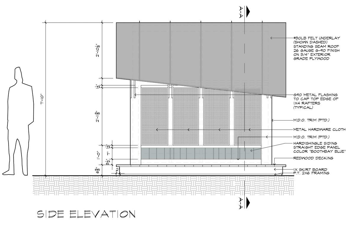 Beautiful Cottage Playhouse Side Elevation by Dallas Architect Bob Borson