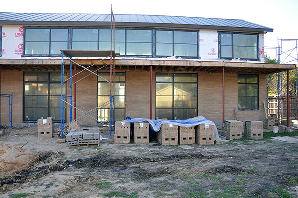 brick installation progress