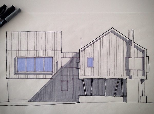 BSB concept sketch with color Northwest Elevation
