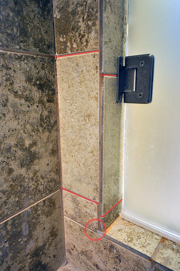 Shower Tile Layout Door Hinge