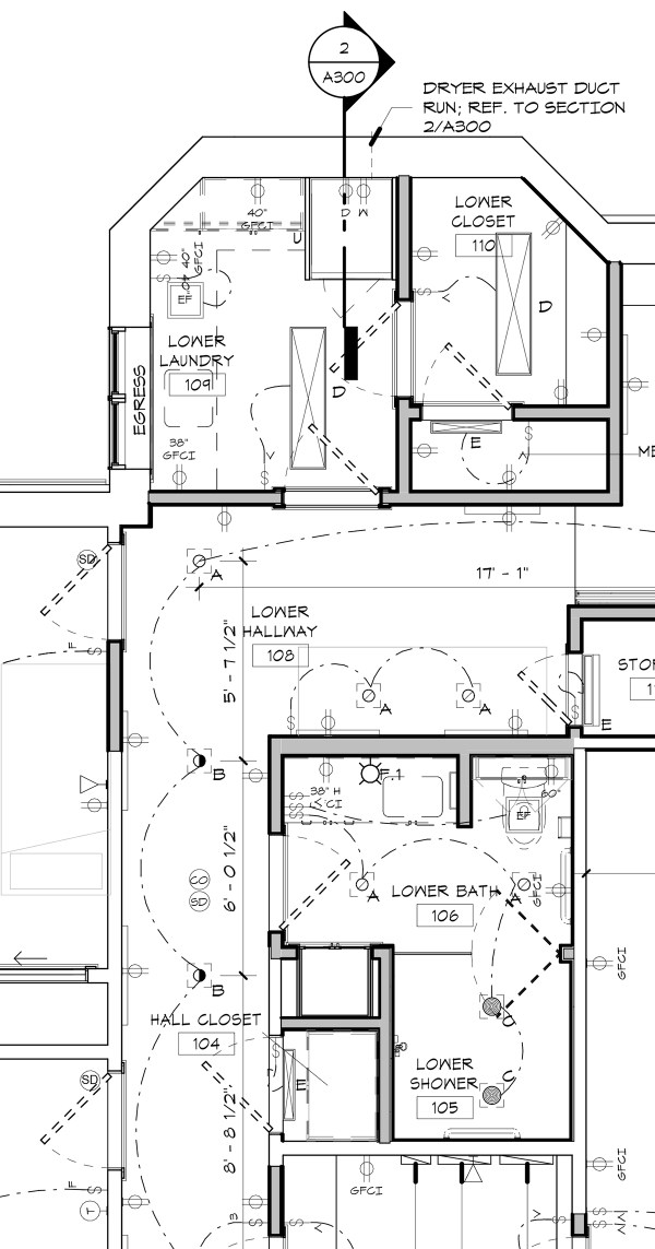 Lower Level Laundry and Bathroom Electrical Plumbing plan