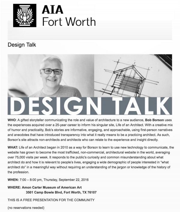 Bob Borson at AIA Fort Worth 'Design Talk'