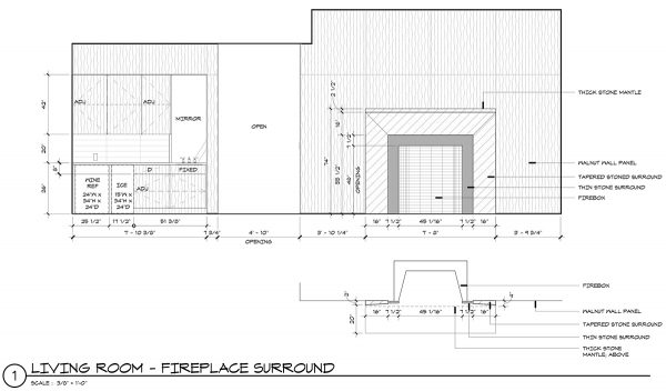 fireplace surround drawings from Dallas Architect Bob Borson