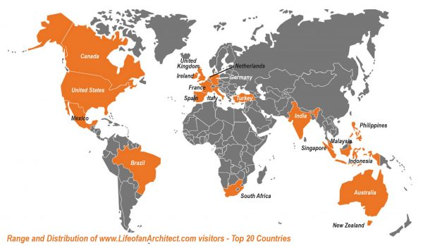 Life of an Architect site traffic map top 20 countries