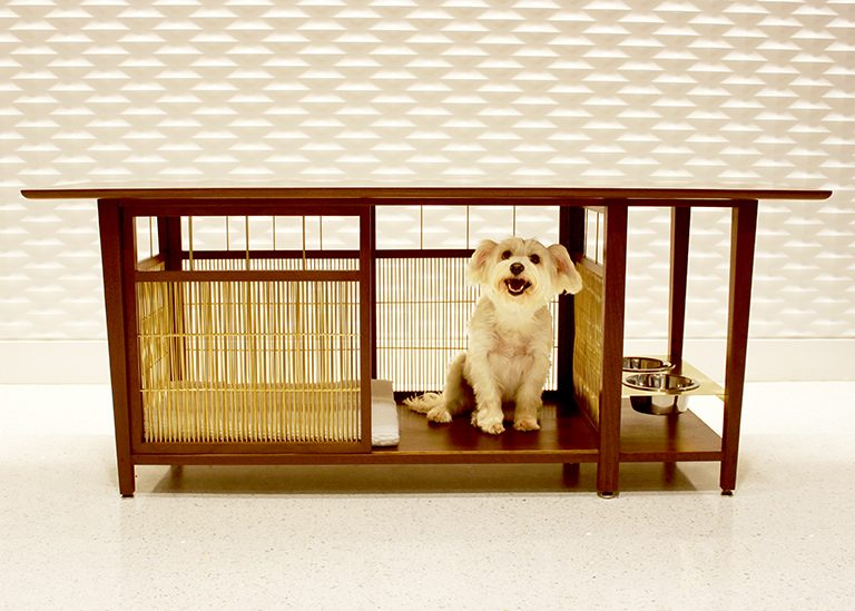 Barker Table with Puppy - doghouse design by MMB Architects