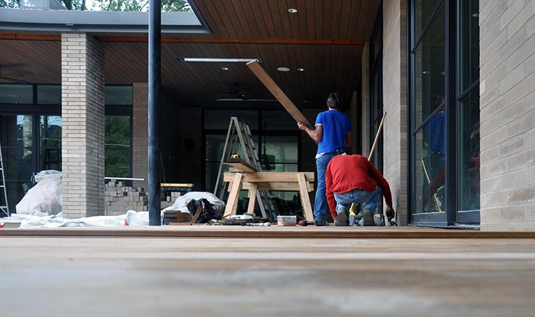 Installing the Ipe wood deck