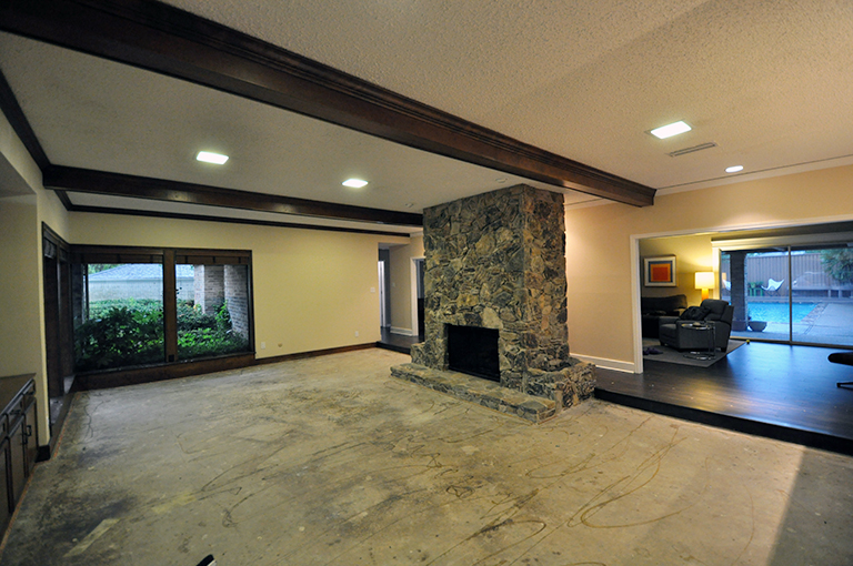 living room with concrete floor