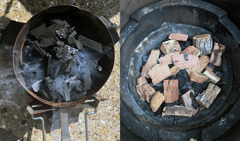 Igniting the charcoal - at Bob's house