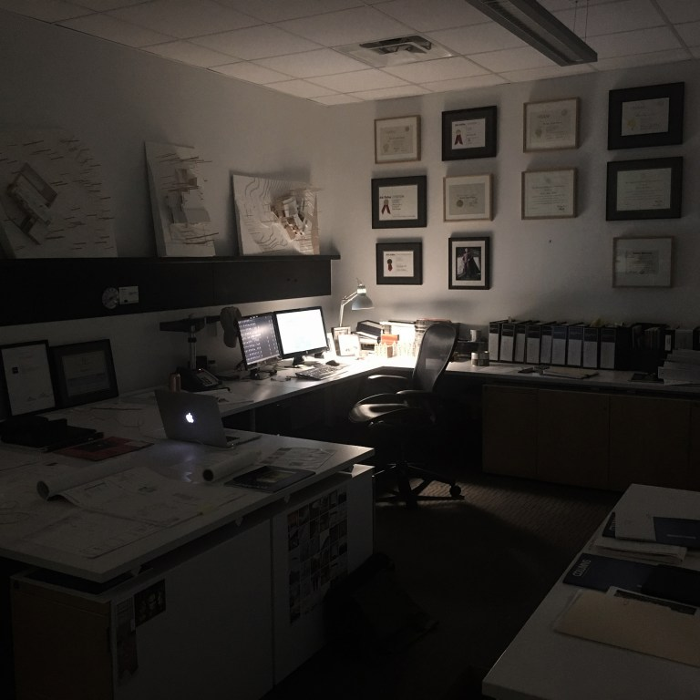 Bob Borson's work desk early in the morning - where the magic happens