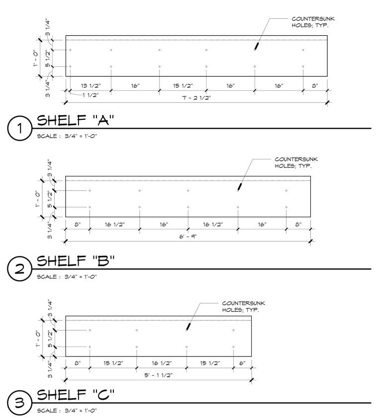 Metal Shelf Detail Elevations
