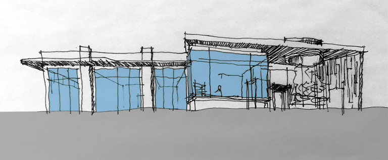 Medical Retail building - sketch colored