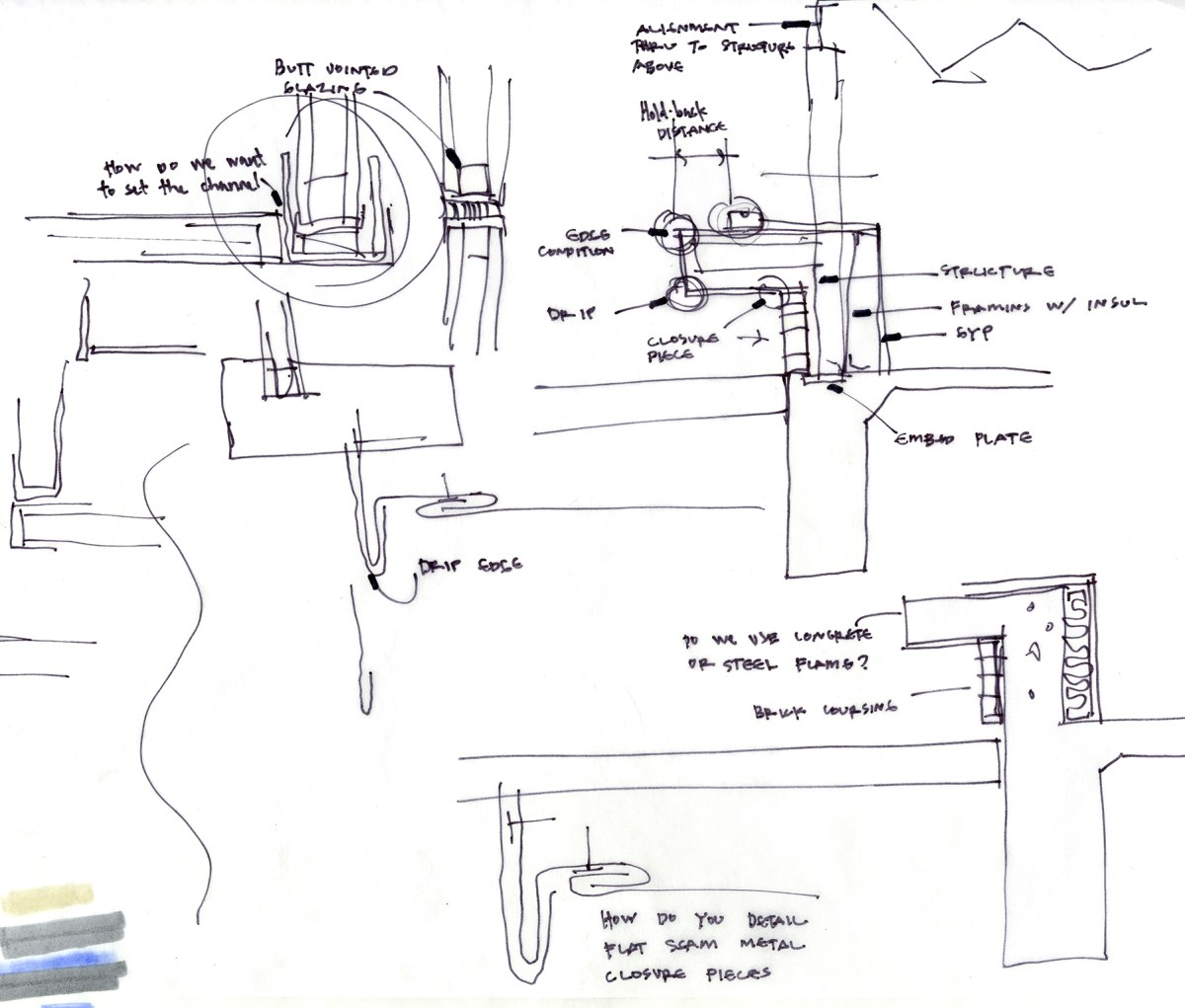 Architectural rough sketch with notes by Bob Borson