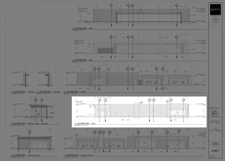 CTEC Exterior Elevations in Revit (full sheet)