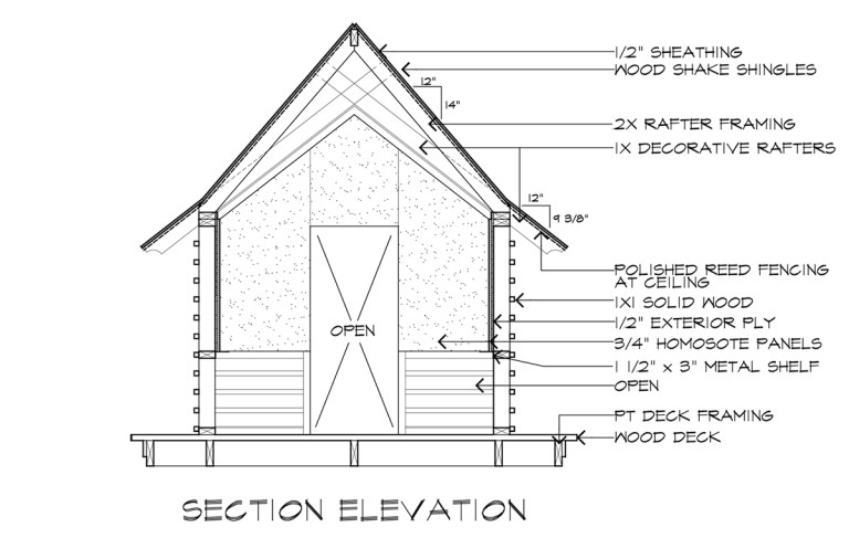 Japanese Playhouse Construction Drawings Section Elevation A