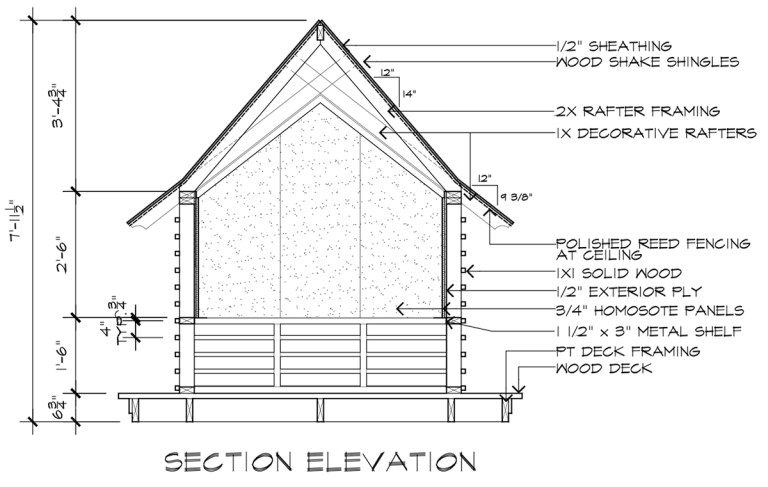 Japanese Playhouse Construction Drawings Section Elevation B