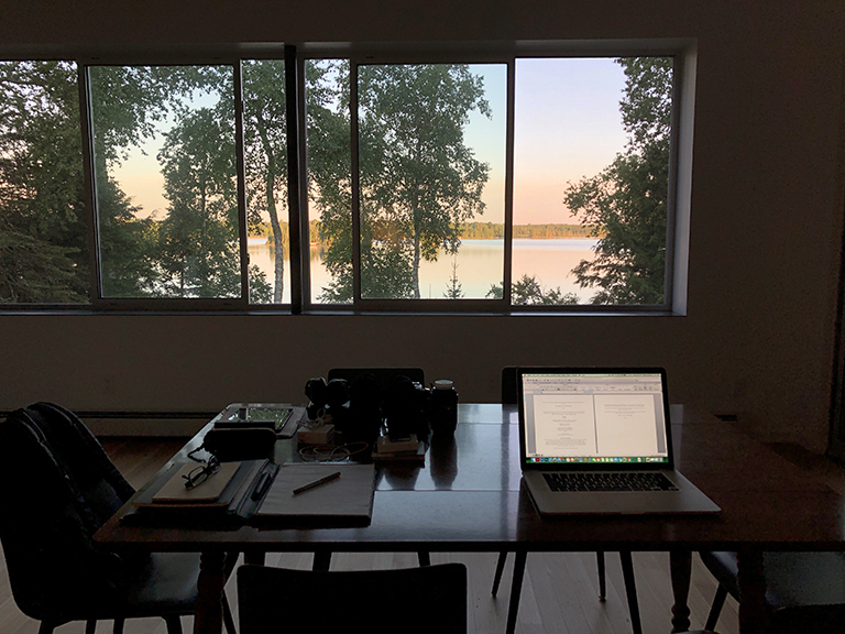 Work area at the cabin
