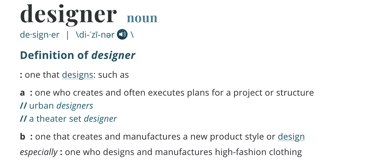 """Definition of the word """"Designer"""""""