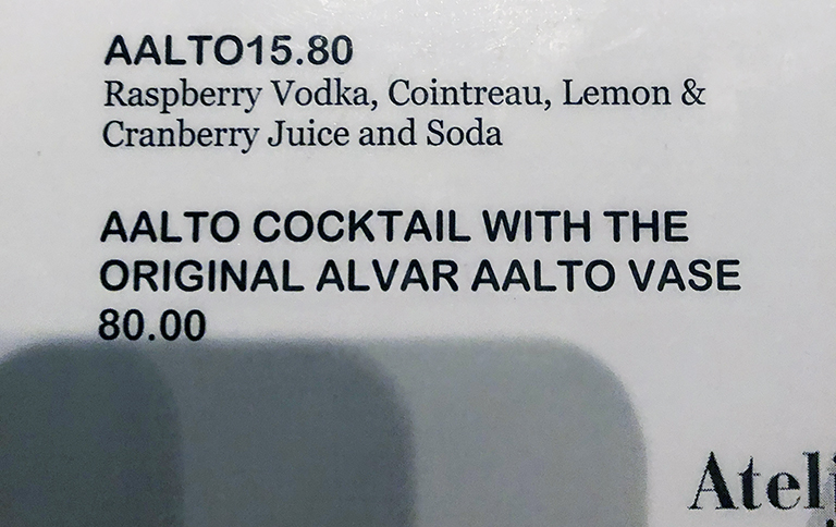 menu from the Ateljee Bar in Helsinki