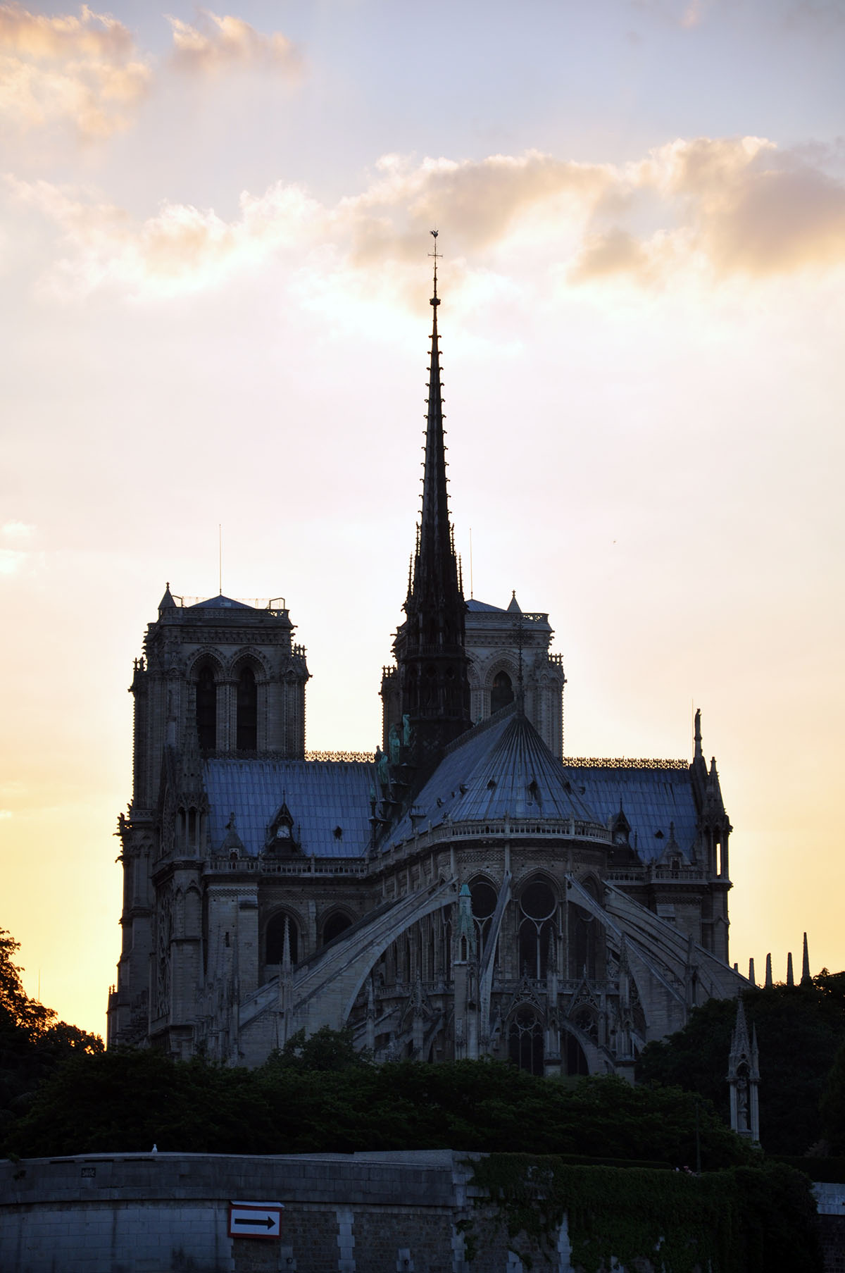 Notre Dame Cathedral night view from the Seine River June 2010 photo by Bob Borson